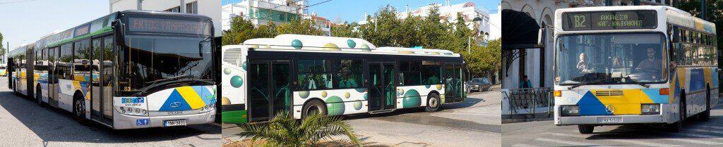 Atina'da kullanılan otobüs çeşitleri.
